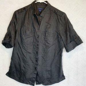 100% Linen Utility style Roll Tab Sleeve shirt